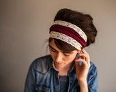 Garlands of Grace Garnet Vintage Stretch Headband wrap headcovering