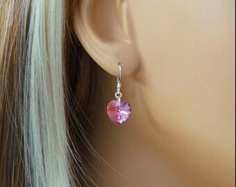 Heart Shaped Swarovski Crystal Earrings