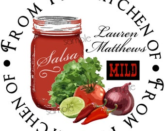 Salsa Stickers, Canning Labels, Salsa Canning Labels, Salsa Mason Jar stickers, salsa Labels, Custom, Personalized Labels,Set of 12