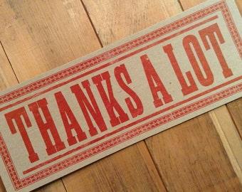 letterpress sign THANKS A LOT poster Red grateful thankful kitchen decor gifts diner art print