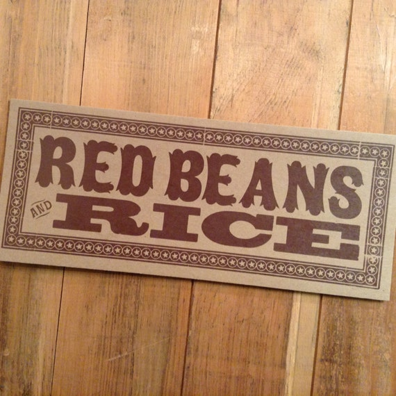 RED BEANS and RICE Sign Hand Printed Letterpress
