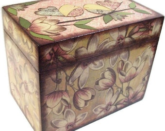Recipe Box, Wood Recipe, Greeting Card Box, Pink Blossom - Other Designs, Wedding Recipe, Bridal Shower Box, Holds 5x8 Cards, MADE TO ORDER