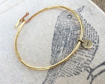Charm Bangle Bracelet, Charm Bracelet, Bangle Bracelet, Silver, Bronze or Gold Bracelet, Stacking Bracelet, Bridesmaids gift - by Allie M.