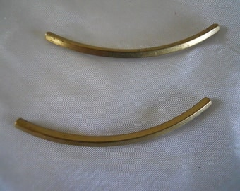 Pair Industrial Square Curved Brass Tubes