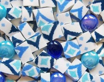 Mosaic Tiles--Blue Ikat mix -100 Tiles plus 10 glass gems