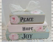 Shabby Wood Faux Book Block Set Home Decoration, Hand Painted, Roses and Stenciled Words, Home Decoration, Display, ECS