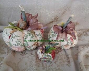 Flannel Fabric Vintage Rose Garden Design Fall Pumpkin 3 pc Set, Display, Autumn Decor, Hand Sewn, Collectible, Gift, Seasonal, ECS