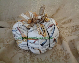 Muscial Fabric LargeFall Pumpkin, Display, Autumn Decor, Hand Sewn, Collectible, Gift, Seasonal, ECS