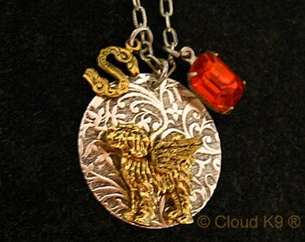 LABRADOODLE GOLDENDOODLE ANGEL Necklace. Jewelry. Charm Pendant. Silver. Engravable Pet Loss Memorial Remembrance. Dog Sympathy Gift. Gifts