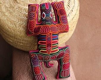 "Stellar, Indigenous Tribal Textile ""Spirit Turtle""  Mola Pillow - Hand Sewn Kuna Indian Reverse Applique"