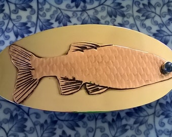 Mixed Metals and Sapphire Fish Barrette - Large