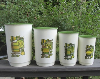 Vintage Plastic Canister Set - Four Piece Set - 1970s Olive and Gold
