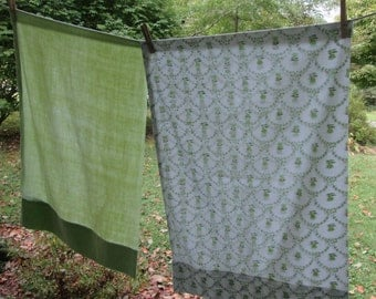 Two Vintage Pillowcases - Lime Green Solid and Print