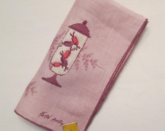 Vintage Faith Austin All Linen Handkerchief - Collectible - Mauve Candy Jars