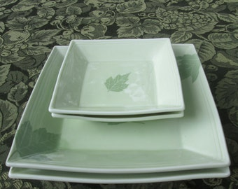 Vintage Leaf Serving Plates - Set of Four - Japan - Shower Gift