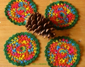 Festive Multi-Colors Coasters Set of 4 - Small Trinket Doilies - Crocheted Decor or Appliques in Nylon Thread
