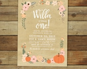 Pumpkin birthday party invitation, fall birthday, peach and coral pumpkin first birthday party invitation, 1st birthday printable invitation