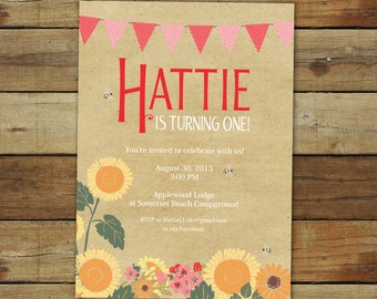 Sunflower birthday party invitation, Gingham picnic birthday party invitation with sunflowers