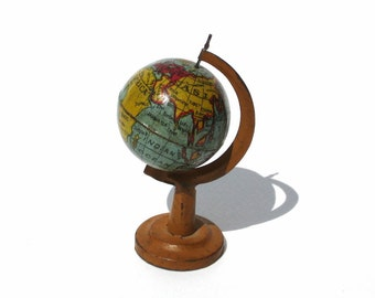 Antique World Globe German Penny Toy Tin Litho Globe on Stand Miniature