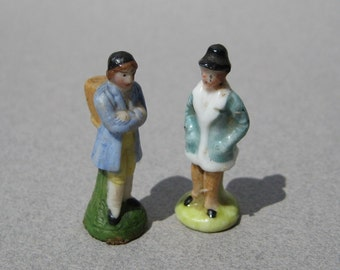 Tiny Miniature Porcelain Figurines Germany 1-3/8 Inches Tall Circa 1900 Antique Dollhouse Figurines