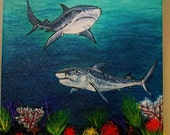 Tiger Sharks, 11 x 14 Acrylic painting