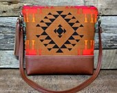 Navajo Southwestern Bag with Faux Leather Strap Tassel