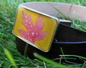 dewy autumn maple leaf buckle in yellow