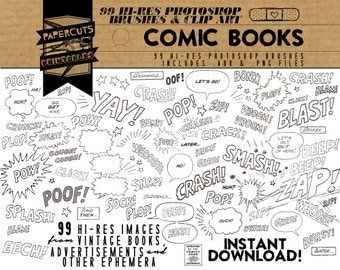 Comic Books - 99 Hi-Res Photoshop Brushes / Clip Art / Image Pack - Includes .ABR and .PNG Files