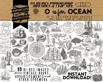 O is for Ocean - 99 Hi-Res Photoshop Brushes / Clip Art / Image Pack - Includes .ABR and .PNG Files