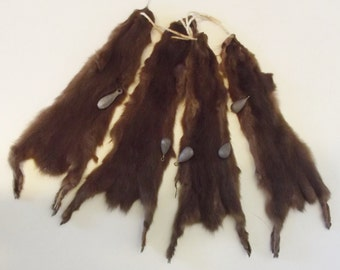 "Vintage animal pelts four matched ""Harvest Brown"" real fur skin presumed mink each 12 1/4"" from nose to rear toe and 3"" at widest (hip)"