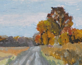 """Art Original ArtistTrading Cards ACEO 2.5""""x3.5"""" Small Miniature Landscape Oil Painting Impressionist Fall Quebec Canada By Founier no2015-4"""