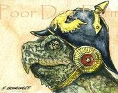 Snapping Turtle Helmet- watercolor PRINT