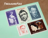 AUTHORS .. Unused Vintage US Postage Stamps .. Enough to mail 5 letters. Plays and theater, Broadway, Times Square, literature, reading book