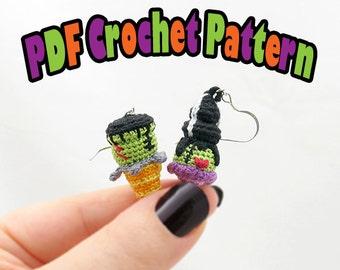 PDF Amigurumi / Crochet Pattern Frankenstein Ice Cream Cone and Bride of Frankenstein Ice Cream Sundae Earring CP-15-3277