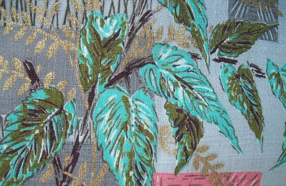 Grey Floral Barkcloth Vintage fabric by the yard or by