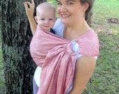 SALE - Linen Ring Sling - Rose Basketweave Jacquard - Double layer - DVD included