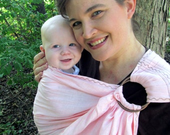 Baby Sling Ring Sling Baby Carrier -100% LINEN in Blush Pink - DVD included - choose white or chocolate accent stitch