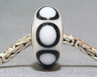 White and Black European Charm Big Hole Bead SRA Handmade Lampwork Bead Basic Becky