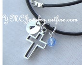 Leather and Sterling Silver Open Cross Initial Birthstone Necklace, First Communion Girl Gift, Confirmation Girl Necklace, Baptism Necklace
