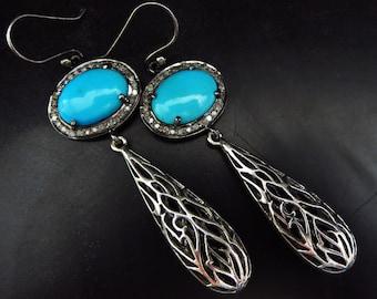 Kingman Arizona Turquoise-Pave Diamond-Bali Handmade Filigree Sterling Silver Dangle Earrings