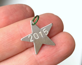 2016 Hand Stamped Star, Christmas Ornament Add On Charm, Add the Date, Personalized Charm, Star Charm, Stamped Charm, Metal Date Charm