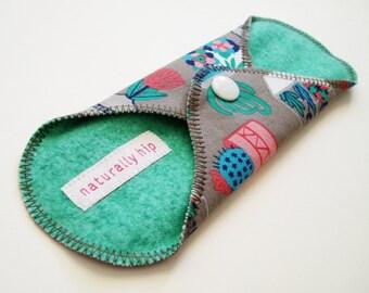 "7"" Cotton Panty Liner w/ Wings - Succulent Geometric Terrarium Vase Gray Blue Pink Green - Cloth Sanpro - Washable - Incontinence Liner"