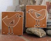 set of beach birds hand carved ceramic art tiles