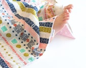 Baby Girl Minky Blanket Bandana Paper Cuts, Security Lovey