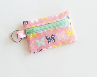 Zippered Pouch, Small Card Case, Ear Bud Case, Pink Butterfly