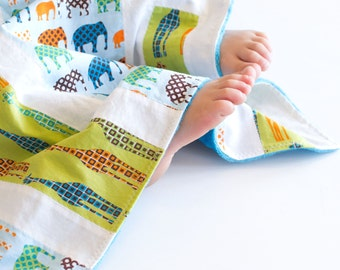 Baby Blanket, Small Patchwork with Minky for Baby Urban Circus Giraffes and Elephants