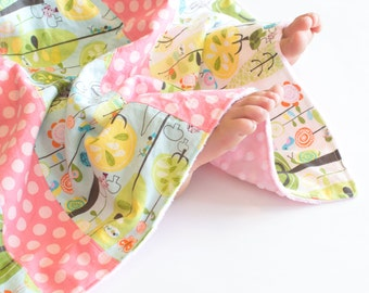 Baby Girl Minky Blanket, Small Patchwork Blanket, Happier Woodland