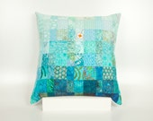 CUSTOM ORDER for JK - Quilted Pillow Modern Patchwork Pillow Quilted 20 x 20 Decorative Pillow Turquoise Quilted Pillow Toss Pillow Ocean