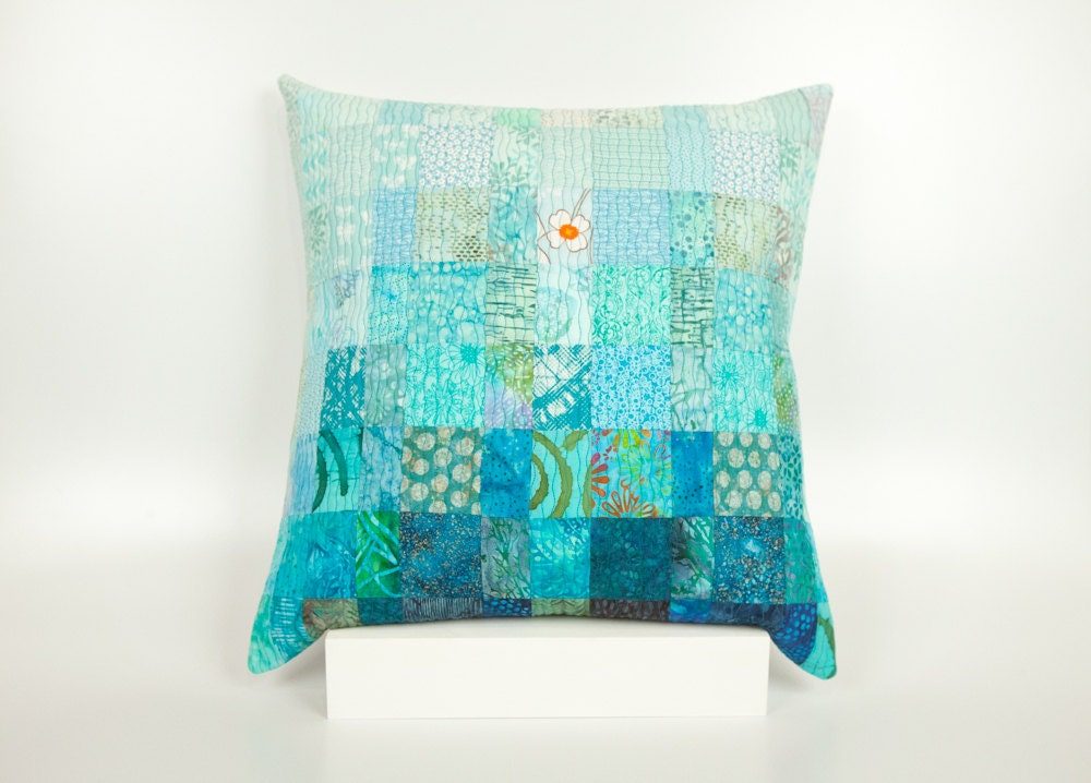 Quilted Pillow Modern Patchwork Pillow Quilted 20 x 20