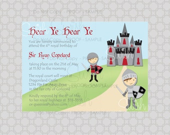 Knight Castle birthday invitation 5x7 invite printable diy digital